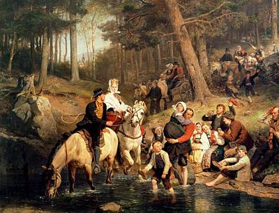 Horse And Cart Painting - The Wedding Trek by Adolphe Tidemand