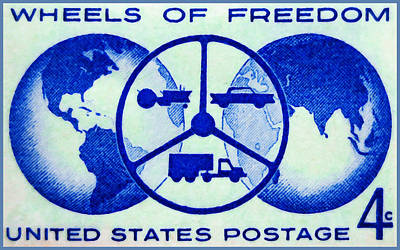 The Wheels Of Freedom Stamp Print by Lanjee Chee