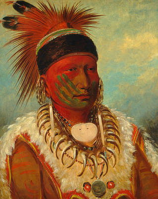 George The Painter Painting - The White Cloud, Head Chief Of The Iowas by George Catlin