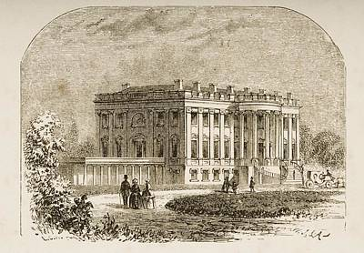 Washington Dc Drawing - The White House Washington Dc In 1870s by Vintage Design Pics
