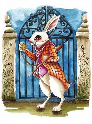 The White Rabbit Late Again Original by Lucia Stewart