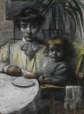 Umberto Drawing - The Wife And Daughter Of Giacomo Balla by Umberto Boccioni