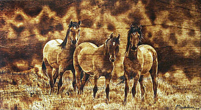 Pyrography - The Wild Trio - On Wood by Dino Muradian