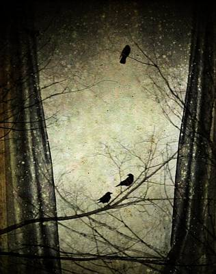 Eerie Digital Art - The Window View by Gothicolors Donna