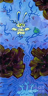 The Winged Jackalope Gots Da Loot. Doz Chickens Want Some But They Aint Getin None Of It Print by Dan Keough