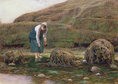 Watson Lake Painting - The Winkle Gatherer by John Dawson Watson