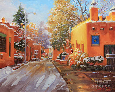 Rooftops Painting - The Winter Beauty Of Santa Fe by Gary Kim