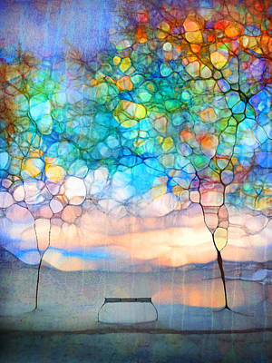 Snow Covered Trees Digital Art - The Winter Bench Dreams Of Summer by Tara Turner