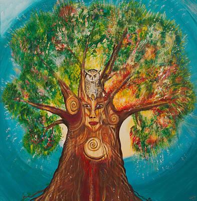 Yggdrasil Painting - The Wisdom Tree by Solveig Katrin