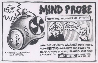 Letterpress Drawing - Wizbang Mind Probe by Hermit