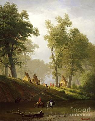 Huts Painting - The Wolf River - Kansas by Albert Bierstadt