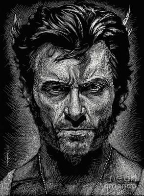 Super Hero Drawings Drawing - The Wolverine by Maria Arango