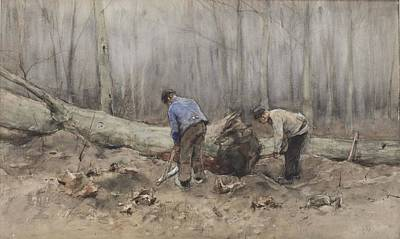 The Woodcutters Print by Anton Mauve