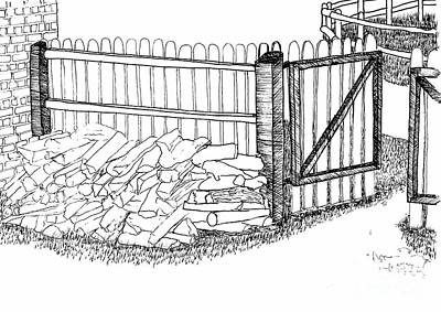 The Woodpile At The Back Gate Print by Dawn Boyer
