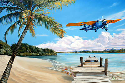 Airplane Painting - The Woolaroc by Kenneth Young