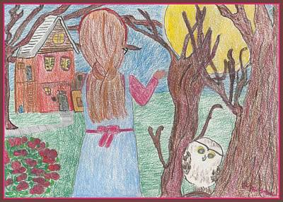 Moonlit Night Drawing - The Words by Heather Parsons