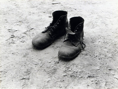 1930s Candid Photograph - The Work Boots Of Foyd Burroughs by Everett