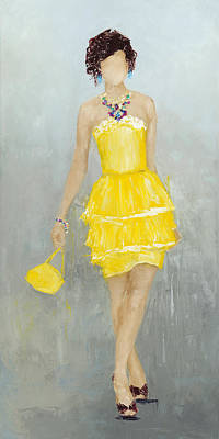 Cocktail Dress Painting - The Yellow Dress by Nicole Daniah Sidonie
