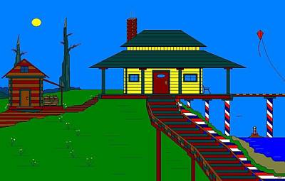 Side Porch Painting - The Yellow House On The Lake. by Richard Magin