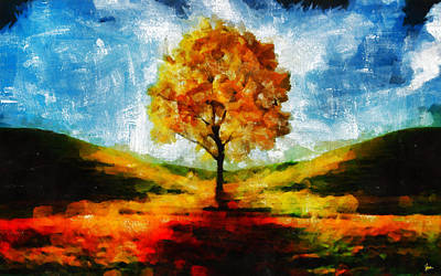 The Yellow Tree - A Nest For Goddess And God Original by Sir Josef Social Critic - ART
