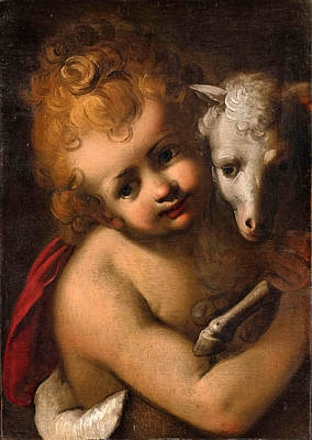 Painting - The Young Saint John The Baptist With A Lamb by Circle of Sisto Badalocchio