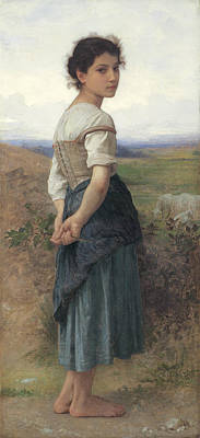 William-adolphe 1825-1905 Painting - The Young Shepherdess by William Adolphe