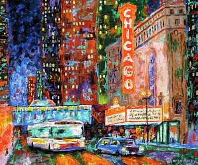 Bus Painting - Theater Night by J Loren Reedy