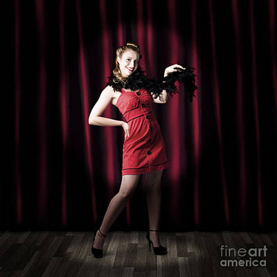 Theater Performer In Front Of Red Stage Curtains Print by Jorgo Photography - Wall Art Gallery