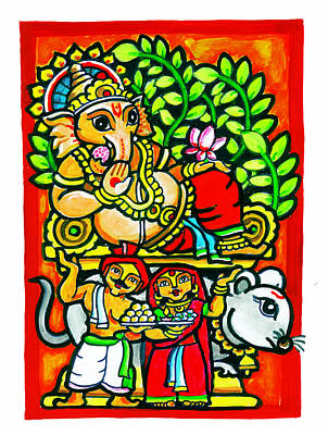 Immersion Painting - Theme Of Lord Ganesh  by Rajen