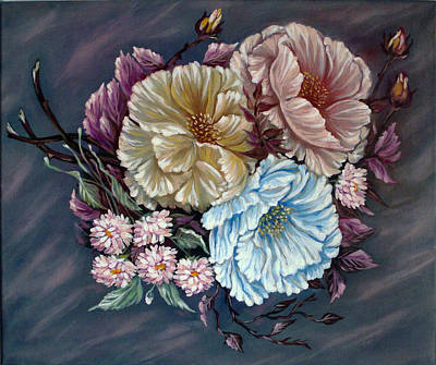 Spirit Catcher Painting - These Shy Tea-roses by Katreen Queen