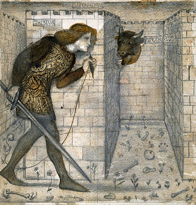 Minotaur Drawing - Theseus And The Minotaur In The Labyrinth by Edward Burne-Jones