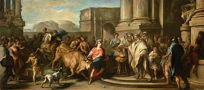 Charles-andre Van Loo Painting - Theseus Taming The Bull Of Marathon by Charles-Andre van Loo