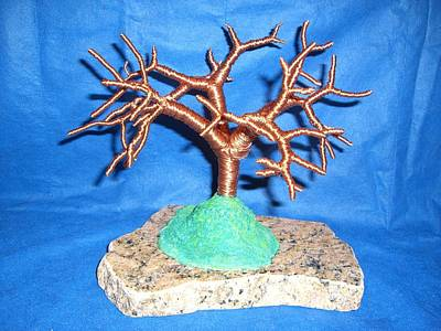 Thick 24 Gauge Copper Wire Tree On Brown And Black Marble Or Granite Slab Print by Serendipity Pastiche