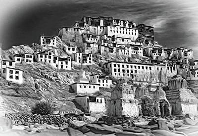 Tibetan Buddhism Photograph - Thiksey Monastery - Paint Bw by Steve Harrington