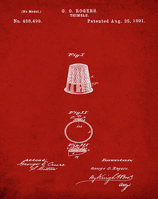 Sepia Chalk Drawing - Thimble Patent 1891 In Red by Bill Cannon