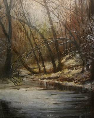 Winter Scenes Painting - Thin Ice by Tom Shropshire