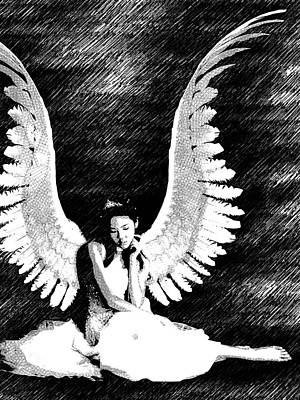 Girl Drawing - Thinking Angel Bw by Mihaela Pater