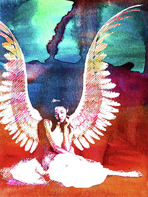 Bedroom Mixed Media - Thinking Angel Watercolor by Mihaela Pater