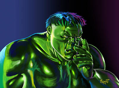 Incredible Hulk Painting - Thinking Hulk by Anthony Mwangi