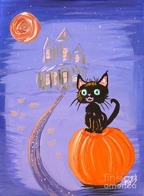 Things I Like Best At Halloween Print by Phyllis Kaltenbach