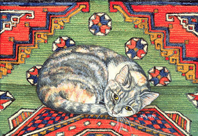 Persian Carpet Painting - Third Carpet Cat Patch by Ditz