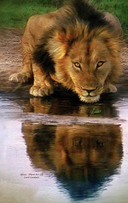 Lion Art Mixed Media - Thirst For Life by Carol Cavalaris