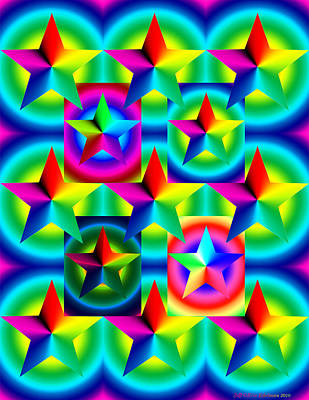Thirteen Stars With Ring Gradients Print by Eric Edelman