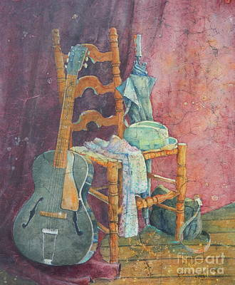 Ladder Back Chairs Painting - This Gibson Came To Play by Sarah Luginbill