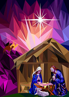 Manger Digital Art - This Holy Night by James Bryson