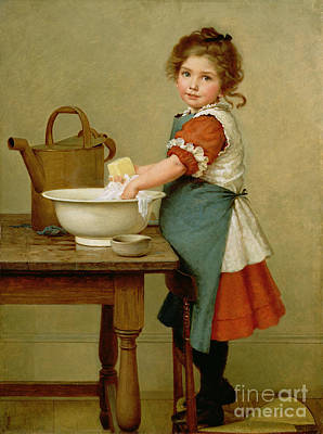 Little Girl Painting - This Is The Way We Wash Our Clothes  by George Dunlop Leslie