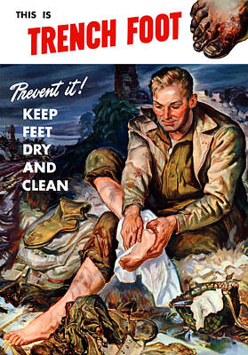 Wwii Propaganda Painting - This Is Trench Foot - Prevent It by War Is Hell Store