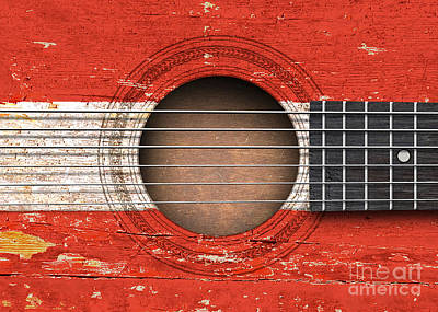 This Unique Design By Artist Jeff Bartels Features A Close Up Of The Sound Hole And Strings Of An Ol Print by Jeff Bartels