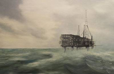 Sea Platform Painting - Thistle Alpha-north Sea by Douglas Ann Slusher