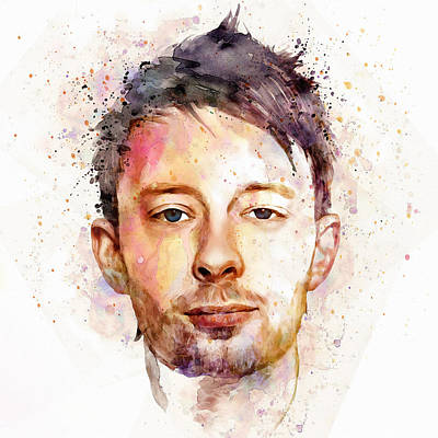 Thom Yorke Watercolor Print by Marian Voicu